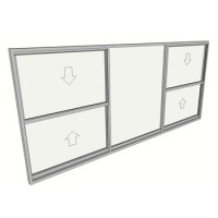 1500 x 2710 3 light double hung window